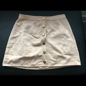 Button-Down Suede Skirt